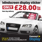 Windscreen Display Sticker