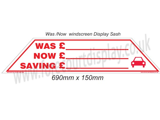 Was Now Sale Car Window Sticker