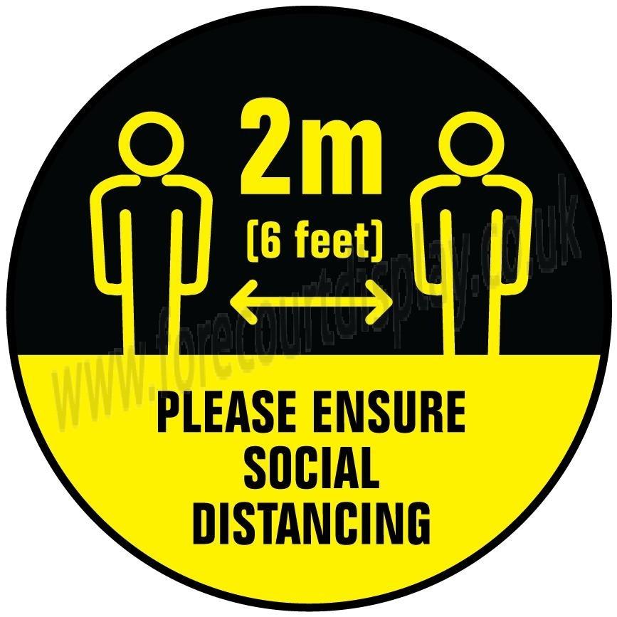 Social Distancing Floor Stickers - 2m Please Ensure Social Distancing