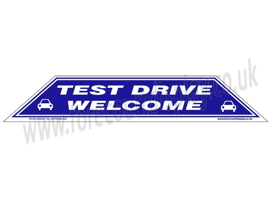 Test Drive Welcome Windscreen Display