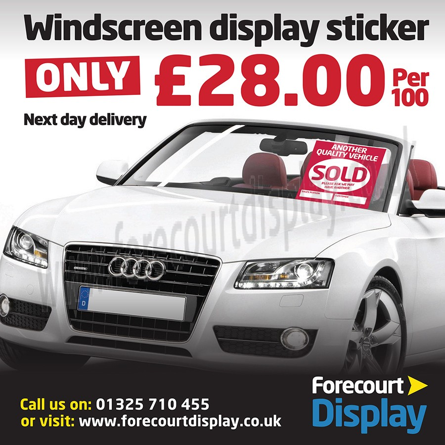 Sold Windscreen Display Sticker