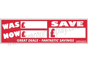 Was and Now Forecourt Windscreen Display Sticker