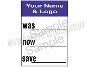 Used car window sticker forecourt display