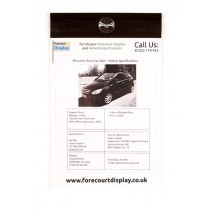 Personalised A4 Specification Card Holder Forecourt Display
